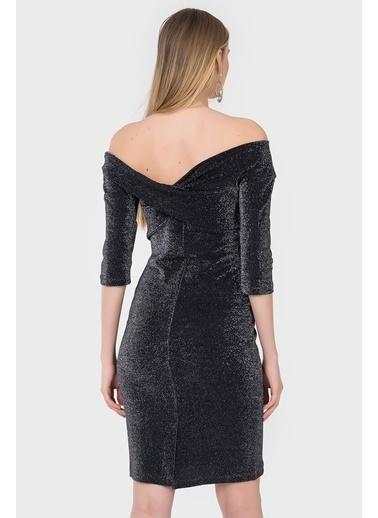 İroni Kayık Yaka Abiye Elbise Siyah